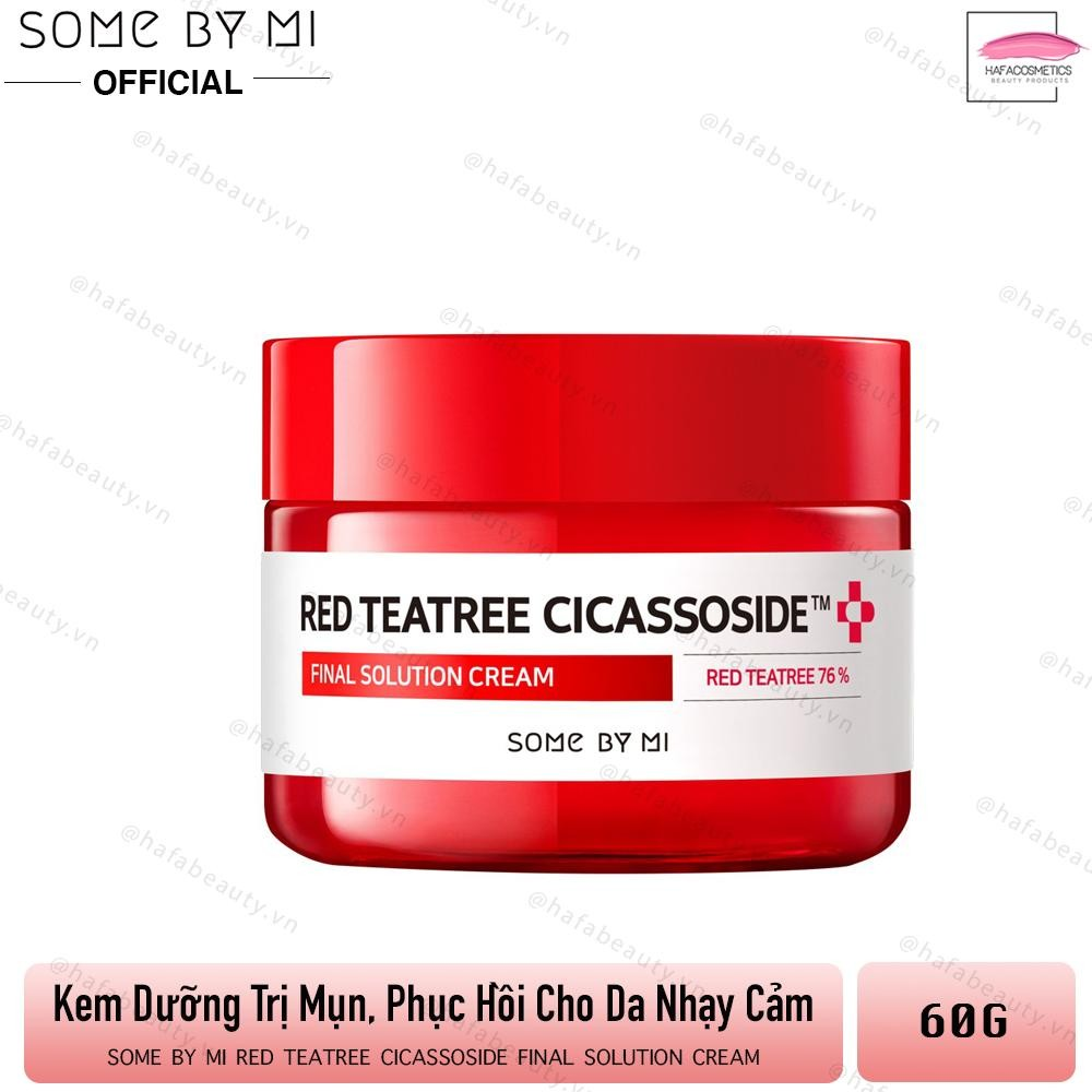 Kem Dưỡng Giảm Mụn, Phục Hồi Da Cho Da Nhạy Cảm Some By Mi Red Tea Tree Cicassoside Final Solution Cream 60g