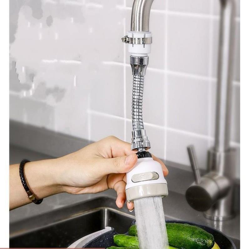 Vòi Nước Rửa Bát Inox Tăng Áp Xoay 360 Độ   Áp Suất Nước Rất Mạnh 3 Chế Độ Xả    Tặng Lau Bếp Đa Năng  206797