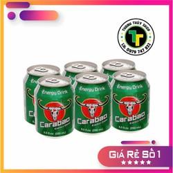 Combo 06 lon - Nước tăng lực trâu cụng hiệu Carabao Thái Lan vị thơm ngon sảng khoái tức thì loại 250ml