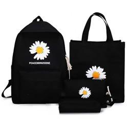 Balo nữ [FREESHIP] Bộ 4 món balo hoa cúc GD - CÓ ẢNH THẬT