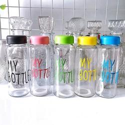 Chai thủy tinh đựng nước 500ml (combo 4 chai) MY BOTTLE Nắp nhựa - Bình nước thủy tinh 500ml (giao màu ngẫu nhiên khác nhau)