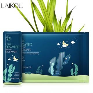 [20 miếng] Mặt nạ dưỡng da tinh chất tảo biển LAIKOU mặt nạ ngủ rong biển tái tạo phục hồi da mặt nạ chống lão hóa da mặt nạ ngủ dưỡng ẩm - KR-MN20 thumbnail