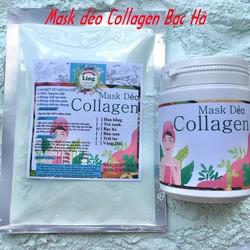 Bột Mask Dẻo Collagen Bạc Hà 200g có giấy VSATTP và ĐKKD nguyên chất thiên nhiên 100% dùng để đắp mặt đa công dụng