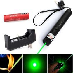 Đèn pin Laze 303 chiếu xa nhiều hình cực đẹp - Trọn bộ gồm đèn laser, bộ sạc, pin Li-ion, chìa khóa an toàn, sách hướng dẫn, hộp đựng sản phẩm