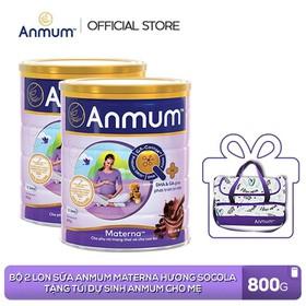 [Tặng Túi dự sinh ] Combo 2 Lon Sữa Anmum Materna Hương Socola 800g dành cho phụ nữ mang thai và cho con bú - TUANM0011CB