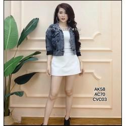 Áo khoác jean nữ cao cấp màu xám đen FENG bao kiểm hàng đẹp Chiwawa house