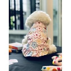 Áo Sơ Mi Hoạ Tiết Hoa Mai Ngũ Sắc Thời Trang Dành Cho Thú Cưng, Đầm Quần Áo Dành Cho Chó Mèo LaLi Pet fashion