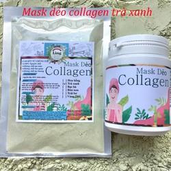 Bột Mask Dẻo Collagen Trà Xanh 200g có giấy VSATTP và ĐKKD nguyên chất thiên nhiên 100% dùng để đắp mặt đa công dụng