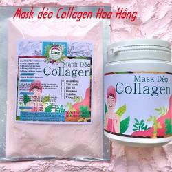 Bột Mask Dẻo Collagen Hoa Hồng 200g có giấy VSATTP và ĐKKD nguyên chất thiên nhiên 100% dùng để đắp mặt đa công dụng