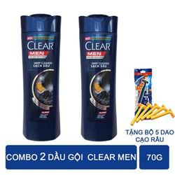 Combo 2 Dầu Gội Clear Men 70G Tặng Bộ 5 Dao Cạo Râu