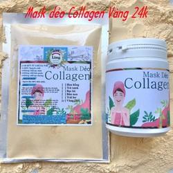 Bột Mask Dẻo Collagen Vàng 24K 200g có giấy VSATTP và ĐKKD nguyên chất thiên nhiên 100% dùng để đắp mặt đa công dụng
