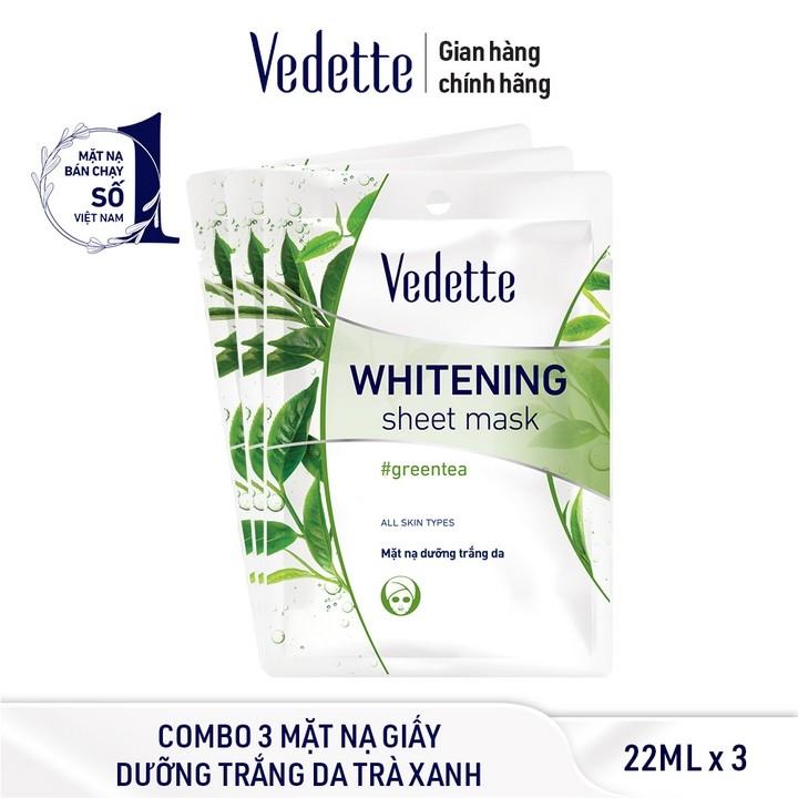 Combo 3 Mặt nạ giấy dưỡng trắng da trà xanh Vedette 22ml x 3