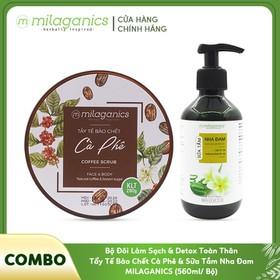 Bộ Đôi Làm Sạch & Detox Toàn Thân Tẩy Tế Bào Chết Cà Phê & Sữa Tắm Nha Đam MILAGANICS (500ml/ Bộ) - TUMIL0060SG