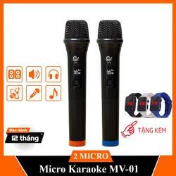 [Hàng chính hãng – BH 12 Tháng] Micro Đôi Karaoke – Micro Không Dây MV 01- Chuyên mọi Loa kéo, amply – Tặng 01 Đồng hồ Led đeo tay
