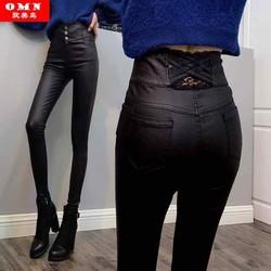 Hàng nhập Quần da nữ cao cấp thiết kế phối ren lưng cao ôm dáng