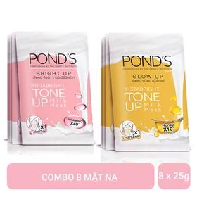 Combo 4 Mặt Nạ Sữa Dưỡng Trắng Nâng Tông Pond's White Beauty Bright Up 25g + 4 Mặt Nạ Sữa Dưỡng Trắng Nâng Tông Và Căng Bóng Da Pond's White Beauty Glow Up 25g - 1000000000369
