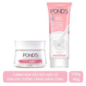 Combo Kem Sữa Rửa Mặt Dưỡng Trắng Nâng Tông Pond's White Beauty 100G Và Kem Sữa Dưỡng Trắng Nâng Tông Pond'S White Beauty Tone Up 50g - 1000000000370