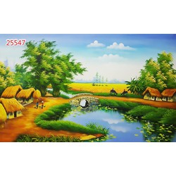 Tranh 3D dán tường chủ đề Đồng quê Việt Nam