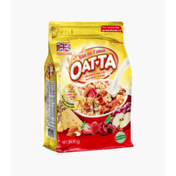 Yến mạch Oatta 800g trái cây và hạnh nhân pho phai - Công nghệ nước Anh Quốc