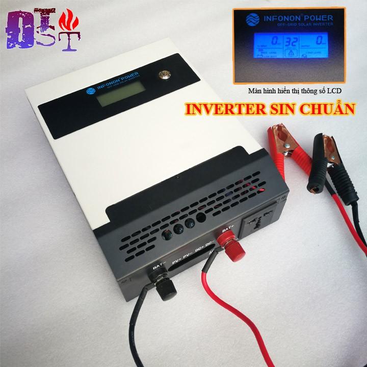 Bộ kích điện 12V - 220V Sin chuẩn, tích hợp sạc năng lượng mặt trời - Dòng cao cấp