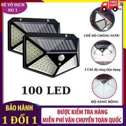 Đèn Cảm Biến Hấp Thụ Năng Lượng Mặt Trời 100 Bóng Led Siêu Sáng - 3 Chế độ ánh sáng