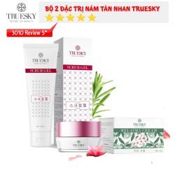 Bộ sản phẩm làm mờ nám da mặt Truesky V02 gồm 1 kem làm nám da Melasma Cream 15g và 1 gel tẩy tế bào chết Scrub Gel 60ml