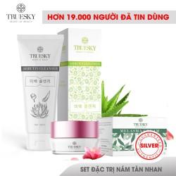 Bộ sản phẩm làm mờ nám da mặt Truesky V01 gồm 1 kem nám da Melasma Cream 8g và một sữa rửa mặt nha đam Arbutin Cleanser 60ml