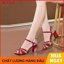 Giày cao gót nữ đẹp đế vuông 7cm màu đỏ xám hàng hiệu rosata ro268