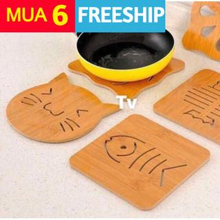 [Mua 6 freeship] Đế gỗ lót nồi cách nhiệt - đế gỗ thumbnail