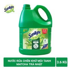 Nước Rửa Chén Sunlight Trà Xanh Khử Mùi Tanh 3.6kg