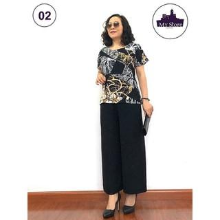 Đồ Bộ Trung Niên - Bộ đồ phối áo lụa hàn châu, quần đũi cao cấp, Siêu mềm, Siêu mát - Dành cho quý bà - Laddy_store [ĐƯỢC KIỂM HÀNG] 33018234 - 33018234 thumbnail
