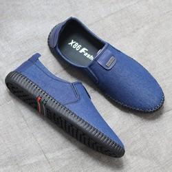 Giày nam – Giày nam – Giày lười vải jean cao cấp 3 màu NÂU-ĐEN-XANH