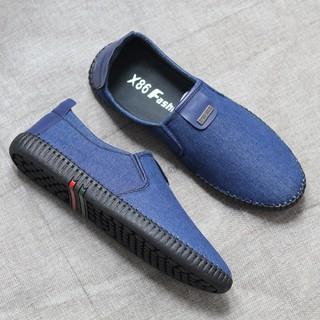 Giày nam - Giày nam - Giày lười vải jean cao cấp 3 màu NÂU-ĐEN-XANH - GIÀY NAM L10 thumbnail