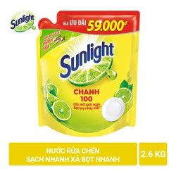 Nước rửa chén SUNLIGHT Chanh  2.6kg dạng túi