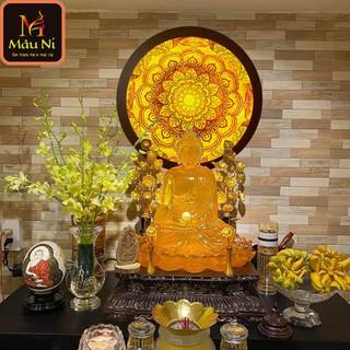 Đèn thờ hào quang Tranh trúc chỉ in MÂU NI, đường kính 40cm, Vân hoa (thích hợp đặt tượng thờ cao 20cm đến 40cm), đèn thờ, tượng phật - tranhtrucchiin11 thumbnail