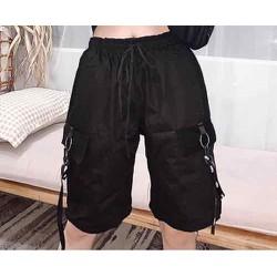 Quần kaki lưng thun có dây luồng khoá nam nữ