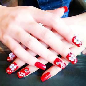 Móng tay giả đỏ hoa - 021-0