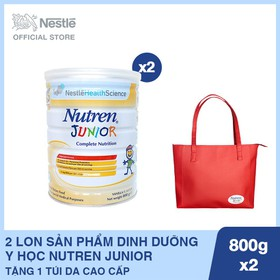 Mua 2 Lon Sản phẩm dinh dưỡng y học Nutren Junior - Lon 800g, Tặng 1 Túi da cao cấp - NJU030622
