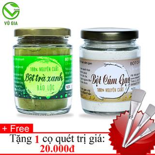 Bột Cám Gạo + Bột Trà Xanh - Nguyên Chất VG Farm [100gr-túi] + Tặng Cọ Quét_Đã được kiểm nghiệm y tế - BCG100+BTX100+CQ thumbnail