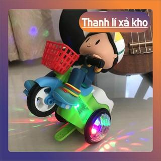 Xe đồ chơi cho bé xoay 360 độ có nhạc và đèn - Đồ chơi bé đi xe đạp phát nhạc 02 - Xe đồ chơi cho bé thumbnail