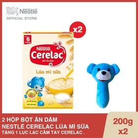 Mua 2 Hộp Bột ăn dặm Nestlé CERELAC Lúa mì sữa - Hộp 200g, Tặng 1 Lục lạc cầm tay Cerelac - CRL030607