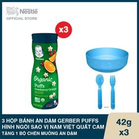 Mua 3 Hộp Bánh ăn dặm Gerber Puffs hình ngôi sao Vị Nam Việt Quất Cam - Hộp 42g, Tặng 1 Bộ chén muỗng ăn dặm - GEB030614