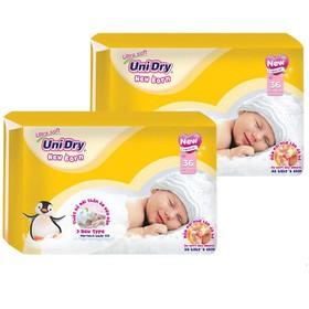 Combo 2 gói tã dán sơ sinh Unidry Newborn NB36 (36 miếng x 2) tã dành cho trẻ 3-6kg - NB1