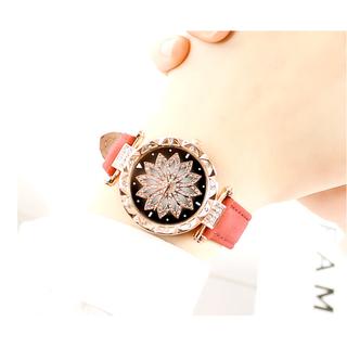[MIỄN PHÍ GIAO HÀNG] Đồng hồ nữ dây da mặt hoa viền đính đá kim sa chính hiệu CVTR, tặng hộp và pin dự phòng, bảo hành 2 năm - MAT-HOA 3