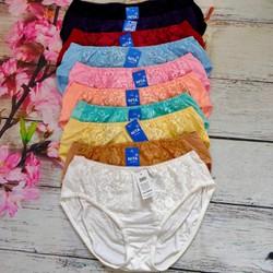 Combo 5 quần lót nữ BIG SIZE Thun cotton Cạp cao ren trước Hàng Việt Nam(Từ 60kg đến 100kg)
