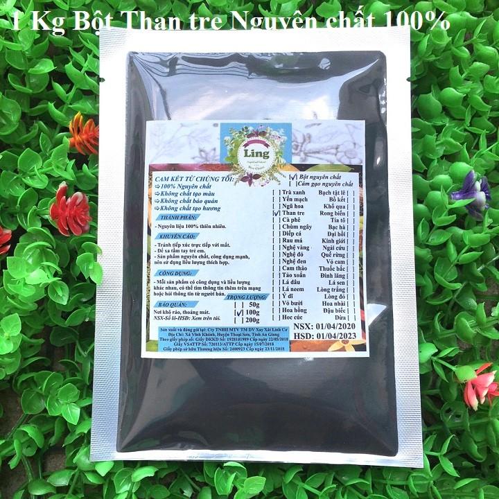 Bột Than Tre Hoạt Tính 1 Kg có giấy VSATTP và ĐKKD nguyên chất thiên nhiên 100% dùng để đắp mặt đa công dụng