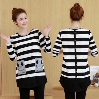 Áo bầu giá rẻ-áo bầu dài tay thu đông mẫu mới thiết kế kẻ sọc - fui80 thumbnail