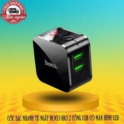 Cốc sạc nhanh Tự Ngắt HOCO HK5 2 Cổng USB Có Màn Hình LED - Hiệu Năng Cao 240V - Chính Hãng
