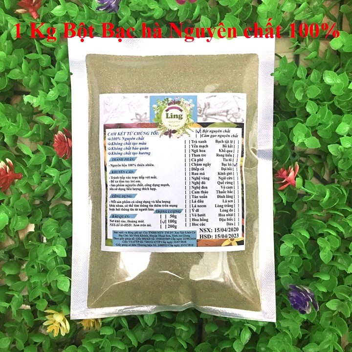 Bột Bạc Hà 1 Kg có giấy VSATTP và ĐKKD nguyên chất thiên nhiên 100% dùng để đắp mặt đa công dụng