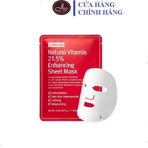 Mặt Nạ Giấy Dưỡng Trắng Da Làm Mờ Vết Thâm By Wishtrend Natural Vitamin C 21.5% 23ml